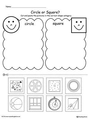 Kindergarten sorting Worksheets Shape sorting Place the Circles and Squares Into the
