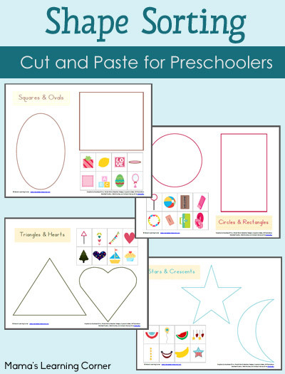 Kindergarten sorting Worksheets Shape sorting Worksheet Packet Mamas Learning Corner