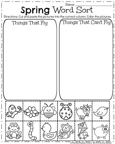 Kindergarten sorting Worksheets Spring Kindergarten Worksheets