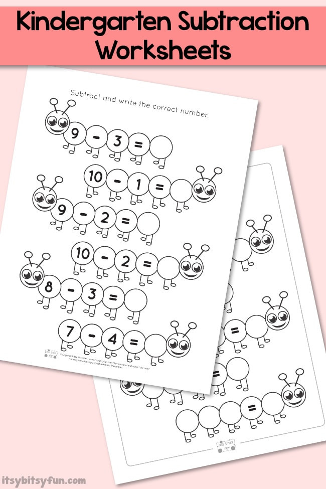 Kindergarten Subtraction Worksheets Free Printable Caterpillar Kindergarten Subtraction Worksheets