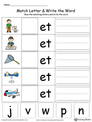 Kindergarten Three Letter Words Worksheets Et Word Family Match Letter and Write the Word In Color