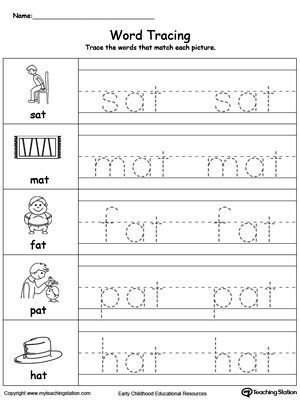Kindergarten Three Letter Words Worksheets Word Tracing at Words