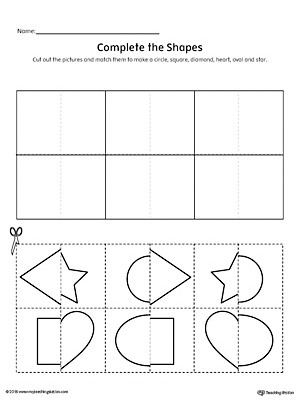 Kindergarten Worksheets Cut and Paste Match Shapes Cut and Paste Diamond Star Square Heart