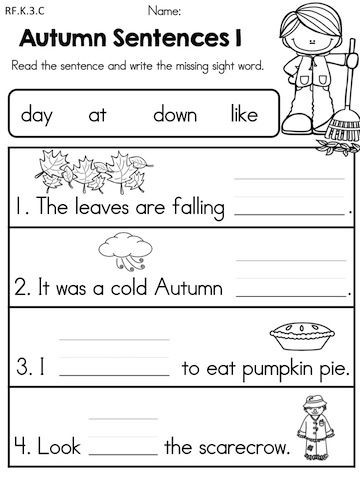 Kindergarten Writing Sentences Worksheets Fall Literacy Activities and Worksheets No Prep