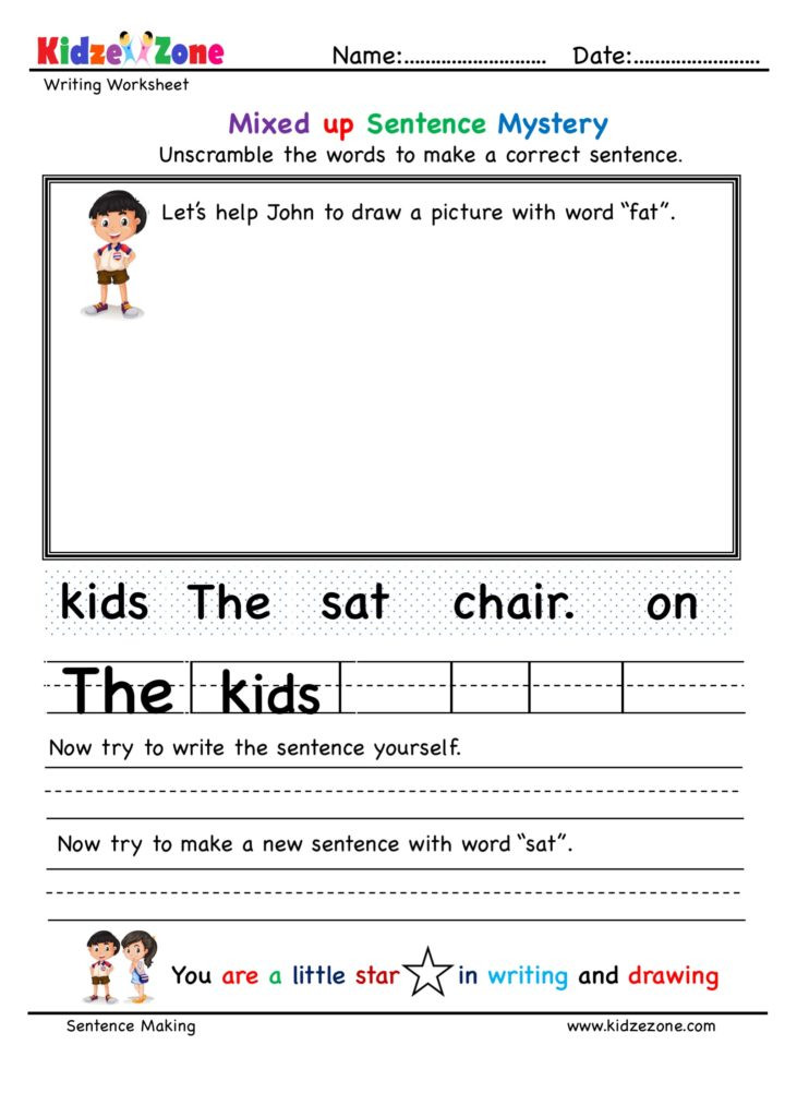 Kindergarten Writing Sentences Worksheets Kindergarten Unscramble Words Worksheets for All Word Families