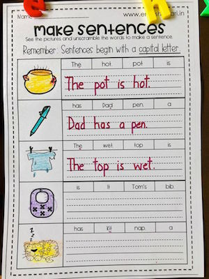 Kindergarten Writing Sentences Worksheets Phonics Sentences Worksheets Pack Free