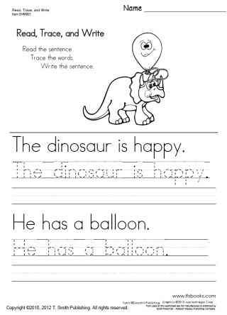 Kindergarten Writing Sentences Worksheets Read Trace and Write Worksheets 1 5