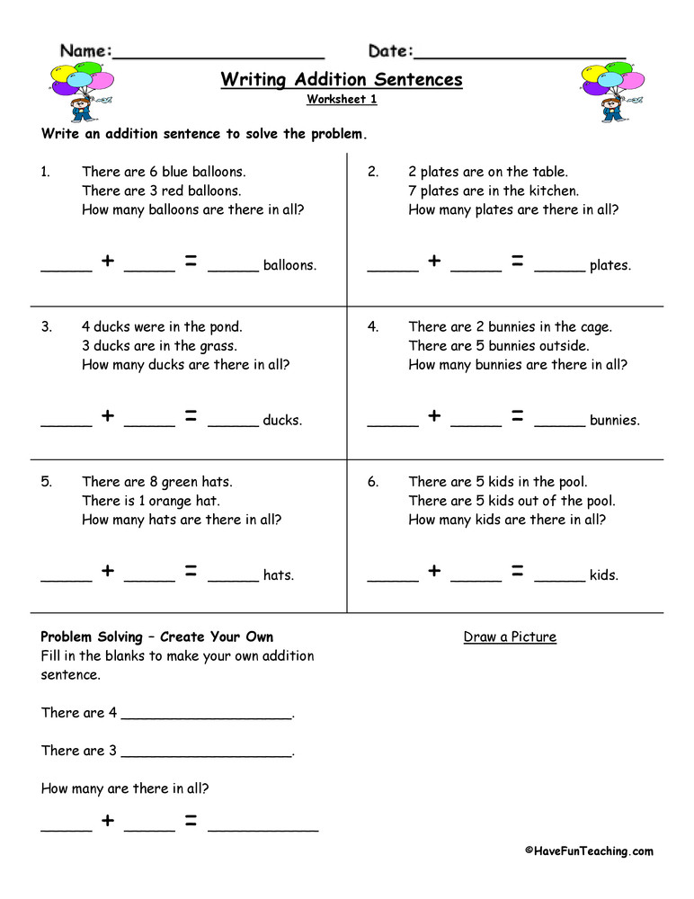 Kindergarten Writing Sentences Worksheets Writing Addition Sentences Worksheet