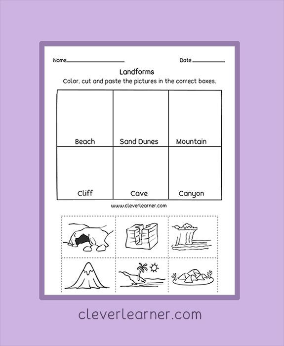 Landforms Worksheet for Kindergarten Label Write and Color the Landforms Worksheets Preschool