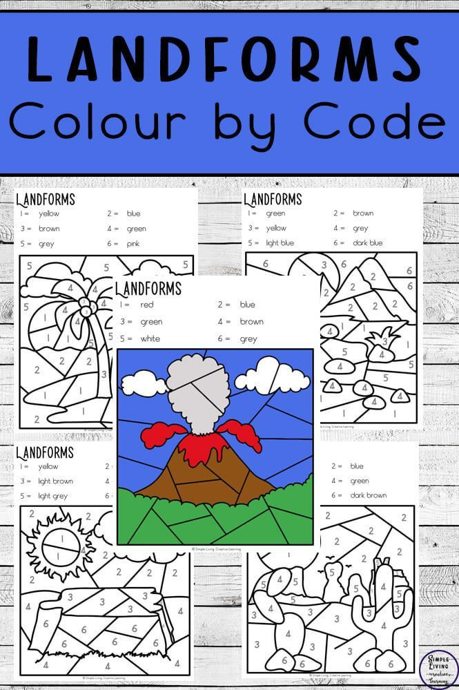 Landforms Worksheet for Kindergarten Landforms Colour by Code Worksheets