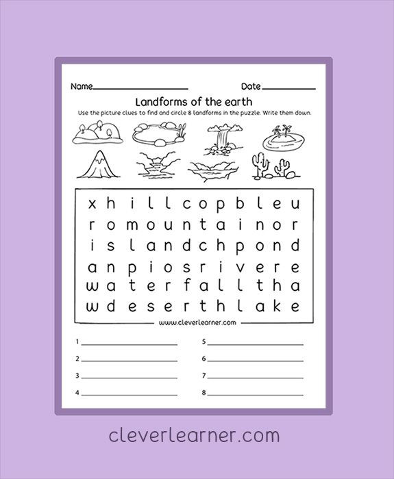 Landforms Worksheet for Kindergarten Landforms Puzzle Worksheets for Children Preschool