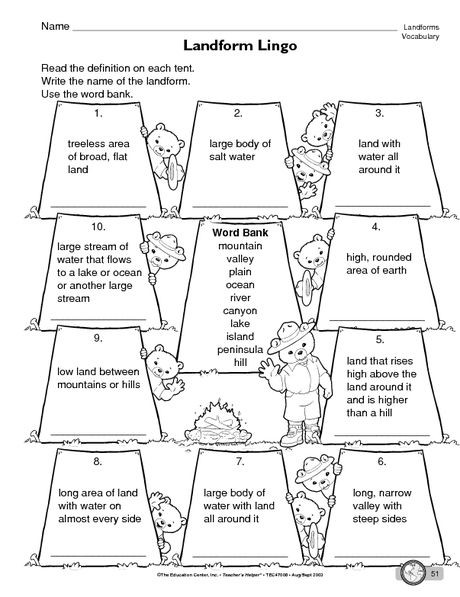 Landforms Worksheet for Kindergarten Science Worksheet Landforms the Mailbox