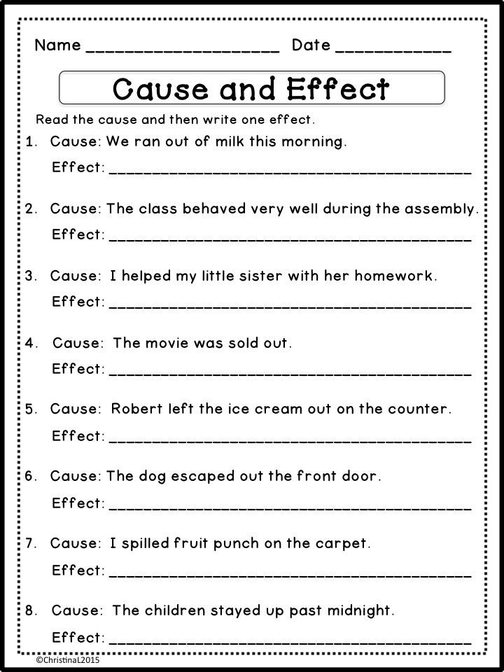 "Language Arts Worksheets 8th Grade Language Arts ""cause and Effect Matching Game and"