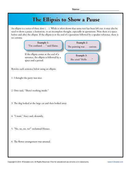 Language Arts Worksheets 8th Grade the Ellipsis to Show A Pause