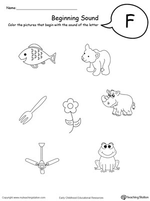 Letter F Worksheets for toddlers Beginning sound Of the Letter F