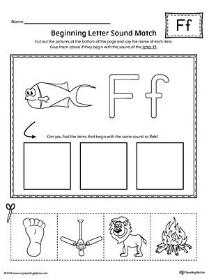Letter F Worksheets for toddlers Letter F Beginning sound Picture Match Worksheet