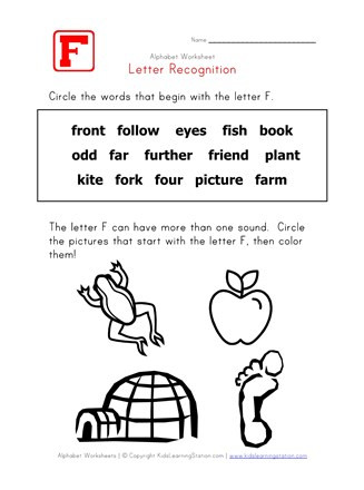 Letter F Worksheets for toddlers Letter F Words Recognition Worksheet