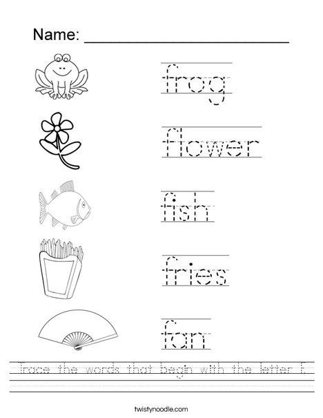 Letter F Worksheets for toddlers Trace the Words that Begin with the Letter F Worksheet