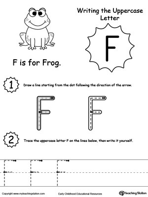 Letter F Worksheets for toddlers Writing Uppercase Letter F