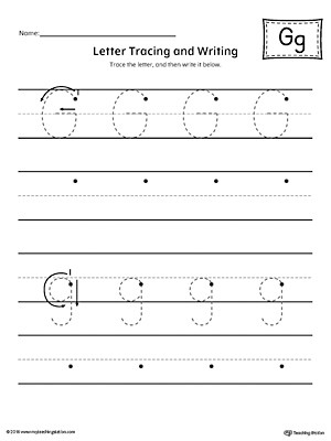Letter G Tracing Worksheet Letter G Tracing and Writing Printable Worksheet