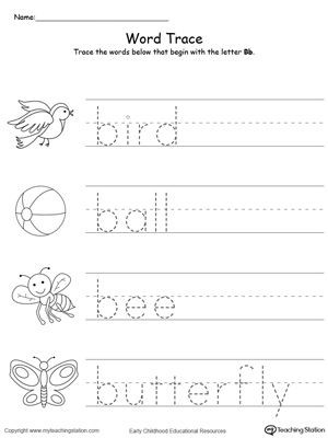 Letter G Tracing Worksheet Words Starting with Letter B
