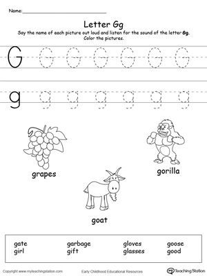 Letter G Tracing Worksheet Words Starting with Letter G