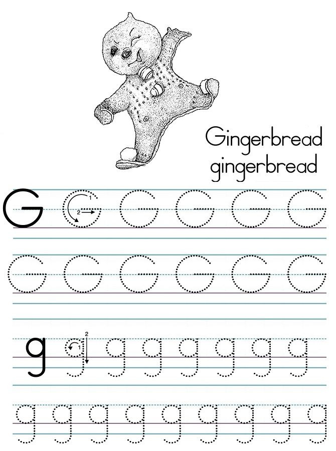 Letter G Tracing Worksheets Preschool Alphabet Abc Letter G Gingerbread Coloring Page D