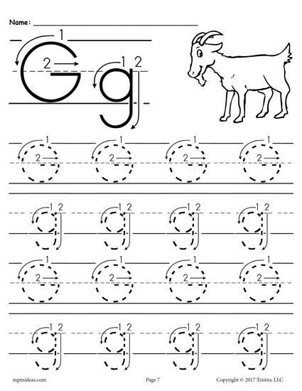 Letter G Tracing Worksheets Preschool Free Printable Letter G Tracing Worksheet with Number and