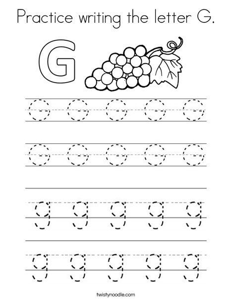 Letter G Tracing Worksheets Preschool Practice Writing the Letter G Coloring Page Twisty Noodle