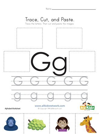 Letter G Tracing Worksheets Preschool Trace Cut and Paste Letter G Worksheet