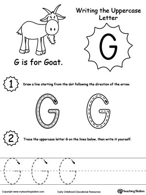 Letter G Worksheet Preschool Writing Uppercase Letter G