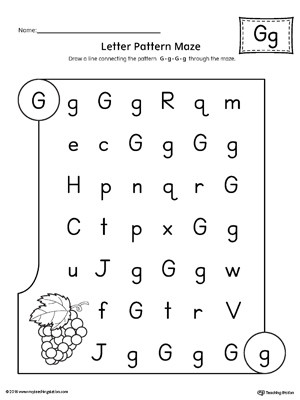 Letter G Worksheets for Kindergarten Letter G Pattern Maze Worksheet