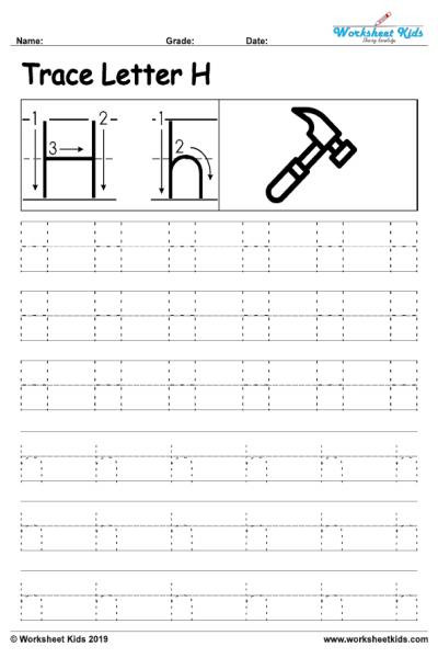 Letter H Tracing Worksheet Letter H Alphabet Tracing Worksheets Free Printable Pdf
