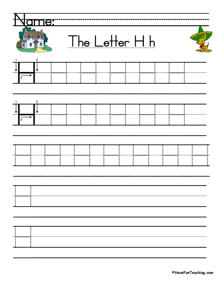 Letter H Tracing Worksheet Letter H Handwriting Practice Worksheet