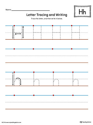 Letter H Tracing Worksheet Letter H Tracing and Writing Printable Worksheet Color