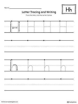 Letter H Tracing Worksheet Letter H Tracing and Writing Printable Worksheet