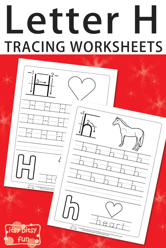 Letter H Tracing Worksheet Letter H Tracing Worksheets Itsy Bitsy Fun
