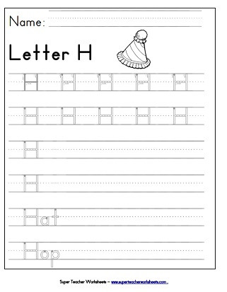 Letter H Tracing Worksheet Letter H Worksheets Recognize Trace & Print