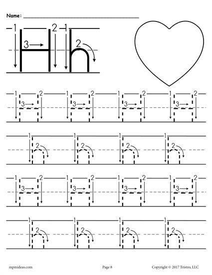 Letter H Tracing Worksheet Printable Letter H Tracing Worksheet with Number and Arrow