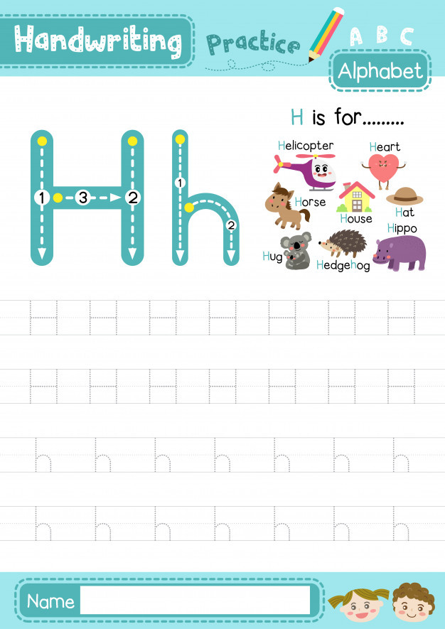 Letter H Tracing Worksheets Letter H Uppercase and Lowercase Tracing Practice Worksheet