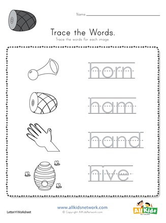Letter H Tracing Worksheets Trace the Letter H Words