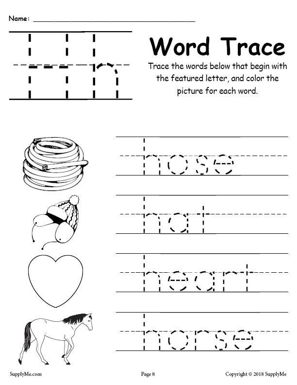 Letter H Worksheets for Kindergarten Letter H Words Alphabet Tracing Worksheet