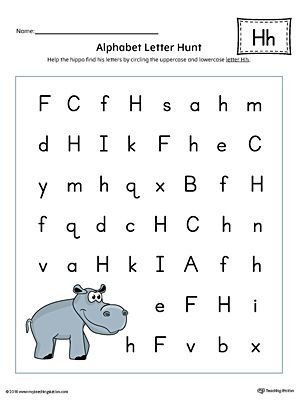 Letter H Worksheets for Preschool Alphabet Letter Hunt Letter H Worksheet Color