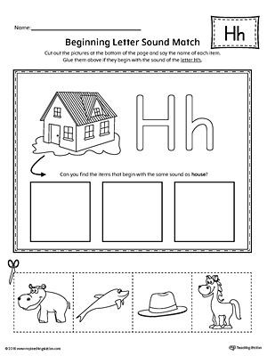 Letter H Worksheets for Preschool Letter H Beginning sound Picture Match Worksheet