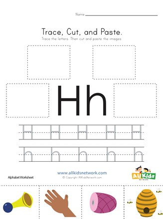 Letter H Worksheets for Preschool Trace Cut and Paste Letter H Worksheet