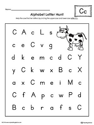Letter Hunt Worksheet Alphabet Letter Hunt Letter C Worksheet