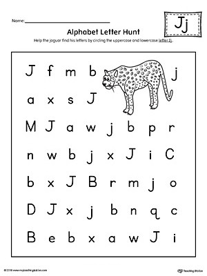 Letter Hunt Worksheet Alphabet Letter Hunt Letter J Worksheet