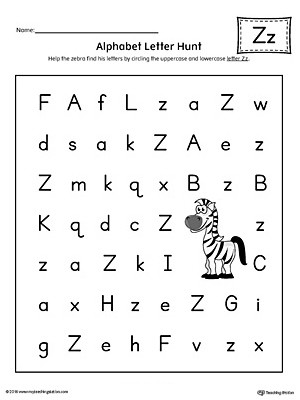 Letter Hunt Worksheet Alphabet Letter Hunt Letter Z Worksheet Color
