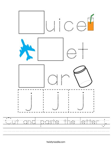 Letter J Worksheets Cut and Paste the Letter J Worksheet Twisty Noodle