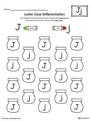 Letter J Worksheets Letter Case Recognition Worksheet Letter J